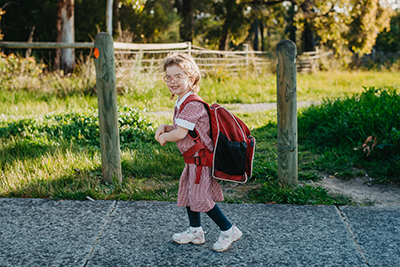 Scarlett walking to school