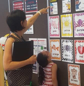 Vision Australia occupational therapist Patricia shows Paisley words and matching pictures on the wall.