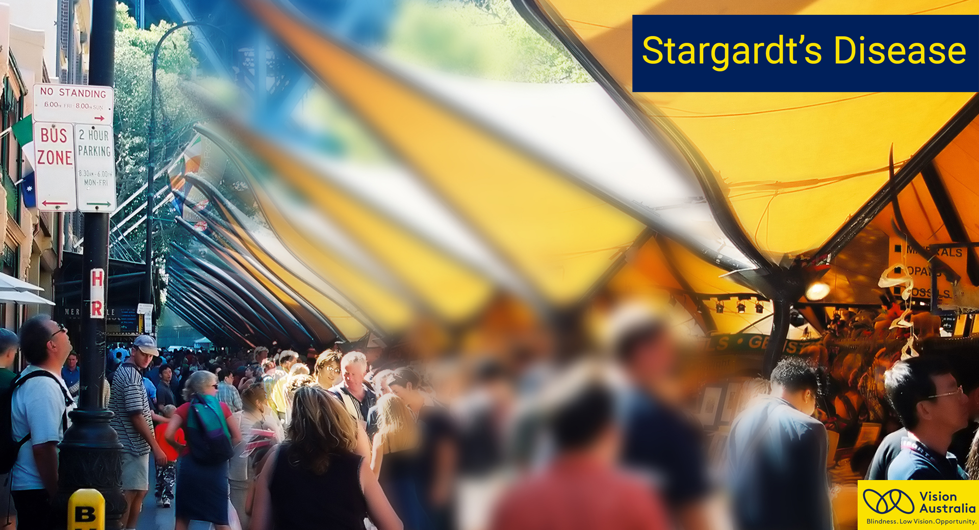 Simulation image of how stargardt's disease affects vision. Scene has middle area blurred.