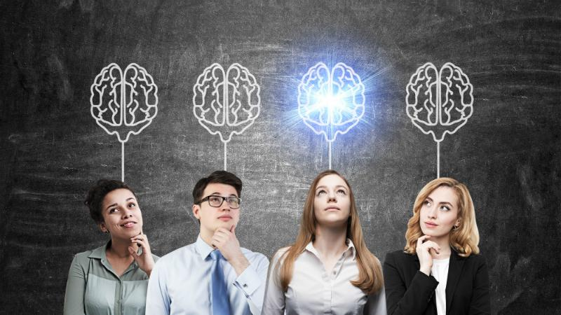 Four people thinking, animated image of a brain above all four. Woman second from the right is looking up at her brain drawing, the brain is lit up